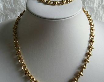 Vintage Pierre Cardin Set Necklace Bracelet Goldtone Demi Parure Chunky Fancy Chain Nice Condition Signature Tag Costume Jewelry Jewellery