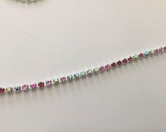 Pink Crystal rhinestone chain mix of 3 mm