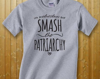 On Wednesdays We Smash the Patriarchy -- Feminist Inc -- Youth Gray Crewneck T-Shirt -- Feminism --  Activist Kid Children's Youth Shirt
