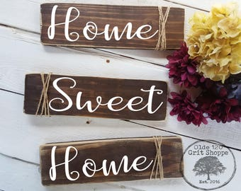 Home Sweet Home | Rustic Farmhouse Signs | Set of 3 wood home signs | Home decor | Rustic signs | Farmhouse Style Signs | Rustic Wall Decor