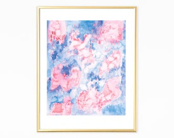 Abstract Watercolor Art, Blue And Pink Art, Bedroom Wall Art, Abstract Wall Art Printable, Blue Pink Printable Art, Instant Download Art
