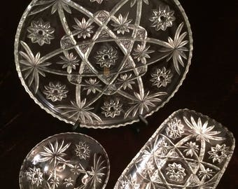 ANCHOR HOCKING EAPC, Set of 3 Serving Platters, Star of David, Early American Prescut, Large Round Platter, Long Relish Tray, Fruit/Nut Bowl