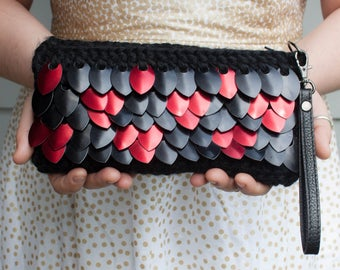 Dragon Scale Clutch - Scalemail Crochet Purse - Black and Red Handbag