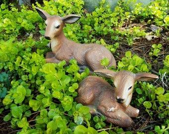 Pair Ceramic Deer Fawn Figurines/Statue/Sitting/Resting/Woodland/Cabin Decor