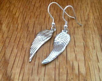 Silver angel wing drop earrings, angel wing earrings, handmade angel wing earrings, pretty angel wing earrings, gift for her, angel, wing