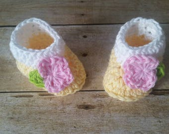 Cotton Baby Booties, Infant Yellow Booties, Crochet Booties, Baby Girl Gift, Infant Baby Shower Gift, Handmade, Girls Booties, Ready to Ship