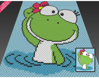 Froggie crochet blanket pattern; c2c, cross stitch; graph; pdf download; no written counts or row-by-row instructions