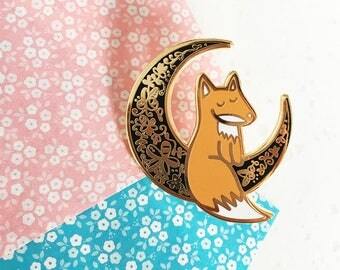 Moon Fox - Hard enamel pin - kawaii accessories, cute enamel pin, fox lapel pin, kitsune enamel pin, fox pin, cute fox enamel pin, moon pin