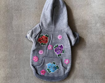 Dog hoodie Flower patched dog hoodie gray dog sweatshirt size small embroidered patched appliques dog sweater dog apparel pet clothes dog cl