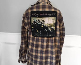 Neil Young Crazy Horse Flannel Tee Vintage Neil Young concert shirt cut and sewn onto vintage brushed cotton flannel unisex retro