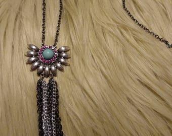 Flower pendant tassel necklace