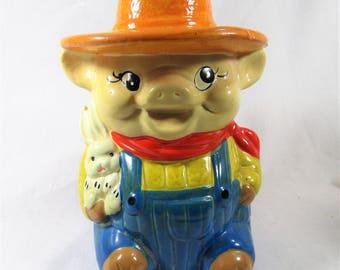 Vintage Farmer Pig Piggy Bank with Bunny - Rochelle's Inc - Retro Bank -