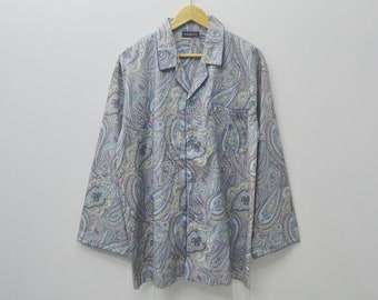 Yves SAINT LAUREN Shirt Vintage 90s YSL Paisley Designs All Over Print Pajamas Long Sleeve Tshirt Size L
