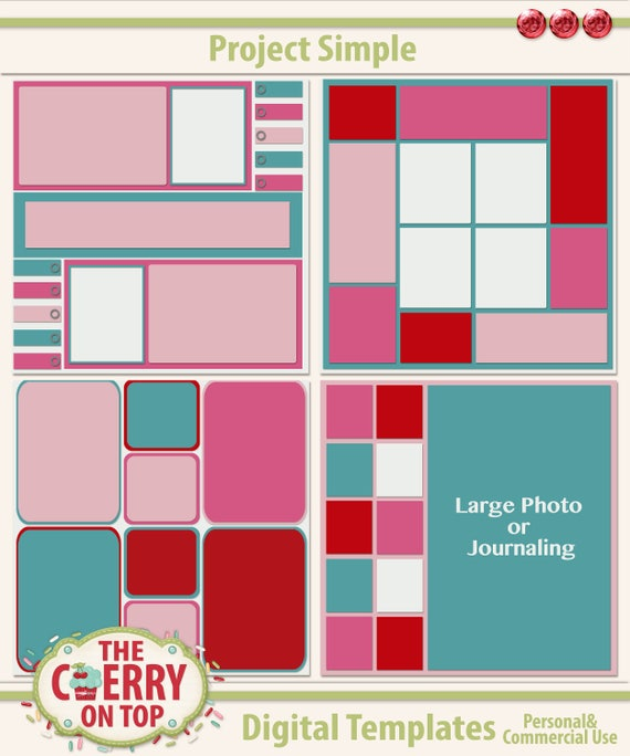 4 Project Simple Digital Scrapbooking Templates for Just ,99 Cents