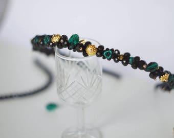 Crystal headband, emerald headpiece, gold black emerald hair accessories