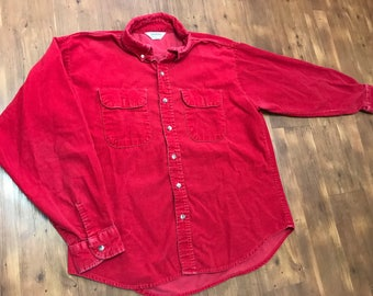 Vintage 1990's Red Corduroy Button down shirt Long sleeve Good condition Size XL unisex Work mens shirt
