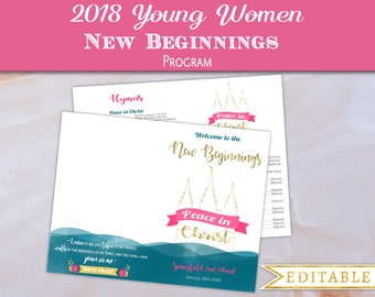 New Beginnings Program Editable PDF LDS YW Template Mutual Theme 2018 Peace in Christ Young Women lds