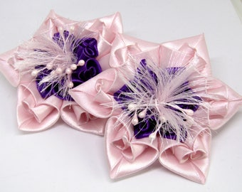 Kanzashi glamorous flower scrunchy - pink-blue - handmade - hair accessory - on the elastic band - best choice christmas gift