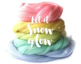 Pastel - Spinning fibre - gradient - blended top set - Baby llama - Merino wool - Rose fibre - Stellina sparkles - Let it SNOW GLOW