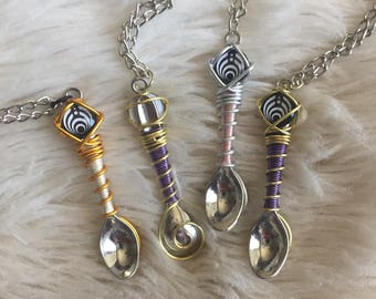 Custom Color Wire Wrap Novelty Bassnectar Mini Spoon Necklace
