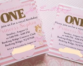 Vintage baby princess ballerina invitation