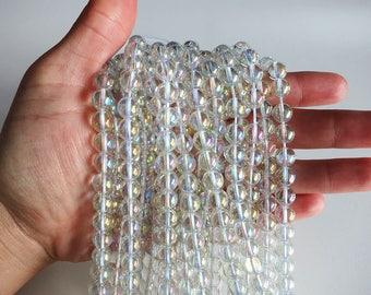 """Aura Rainbow Quartz  Beads 8mm Round Polished Gemstone Loose 15.5"""" Full Strand"""