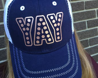 YAY Custom Hat-Trucker style with/Rose Gold Text-New