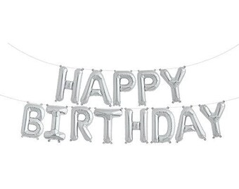 Happy Birthday Balloons Set - Silver Hanging Bunting/Banner Balloons | Mylar/Foil 16"