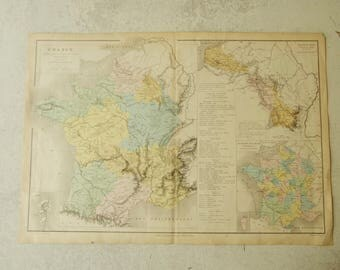 Antique Map FRANCE. Authentic antique map end of 19 century. Atlas in French