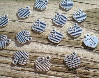 Silver Made In USA Charms, Set of 15, American Flag Charms, Charm Findings