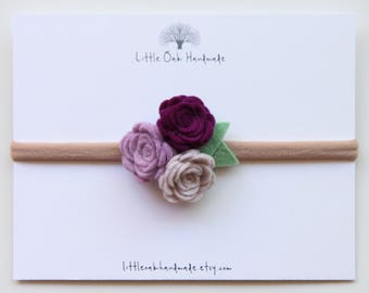 Wool Felt Trio Rose Bouquet Headband - Violet, Berry, Strawberries and Cream Flower Headband - Baby Headband - Nylon Headband