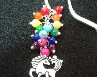 Rainbow unicorn glass bead bookmark