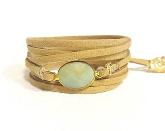 amazonite suede wrap bracelet