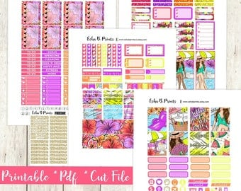 Poolside Pretty Printable Planner Stickers/Weekly Kit/For Use with Erin Condren/Cutfile Fall September Glam Tropical Swimming Vacation