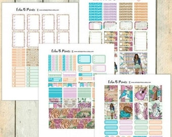Rodeo Girl DARK Printable Planner Stickers/Weekly Kit/For Use with Erin Condren/Cutfiles Rodeo Girl Country Western Glitter Fashion Glam