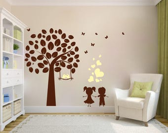 Wall decals fantastic tree, girls and young N131
