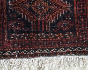 Tribal Oriental Nomad hand knotted vintage Balouch square mini-rug  decorative folklore boho style rural textile art.