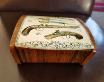 Fabulous Large Vintage Trinket Box. Metal with Mahogany Effect Finish. Muskets and Swords