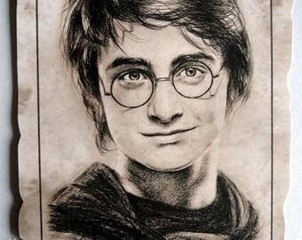 """parchment """"Harry Potter"""" Reproduction portrait of Daniel Radcliffe (Harry Potter) A4"""
