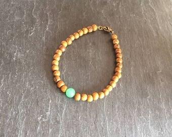 Gemstone bracelet aventurine and wooden bronze clasp.