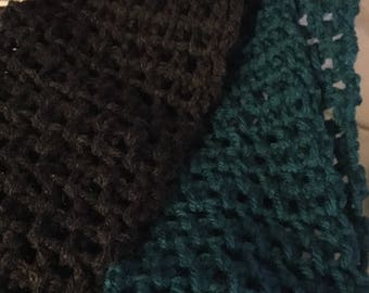 Brown and teal infinity scarf