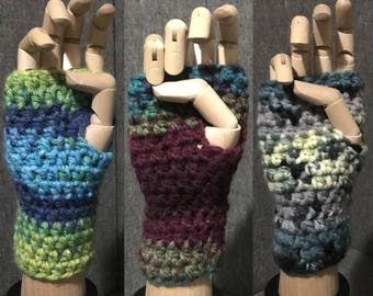 One pair crocheted wrist warmers your choice of color