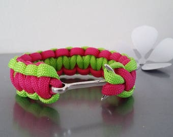 Paracord with tether strap anchor in shades of neon pink / neon green