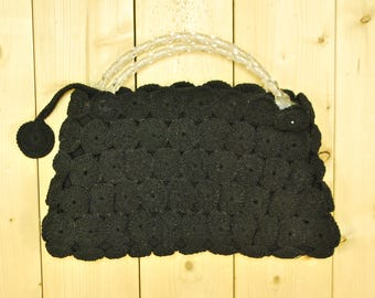 1940's/50's Black Purse with Carved Lucite Handles / Midcentury / Rockabilly / Rare Collectable Retro