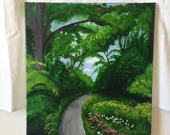 "Acrylic on Canvas, ""Path to the Rose Garden"" Original Art on Canvas 16x20 Fine Art Nature Piece"
