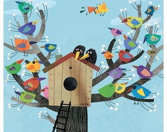 Wall Decor Birds Print, Prints, Wall Art Prints, Love Birds, Wedding Gift, Nursery Decor, Birds Nest, Gift For Couple, Kitchen Decor