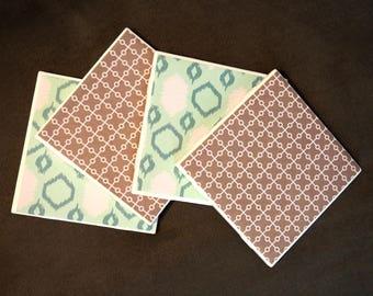 Patterned Coasters; Tile Coasters; Set of 4 Coasters; Gray & Blue Coasters