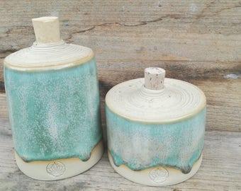 storage jars ceramic set of 2 wheelthrown oil & vinnegar