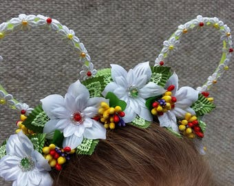 White Lace Bunny Ears,Lace Bunny Floral headband,Beaded White Flowers & Colorful Berries Bunny Ears,Flowers Headband,Floral Summer Headband