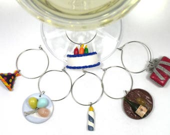Birthday Wine Charms, Party Gift, Housewarming gift, Hostess gift, Hand-made, Polymer Clay